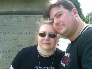Anthony and Jessica at the Lovecraft family plot